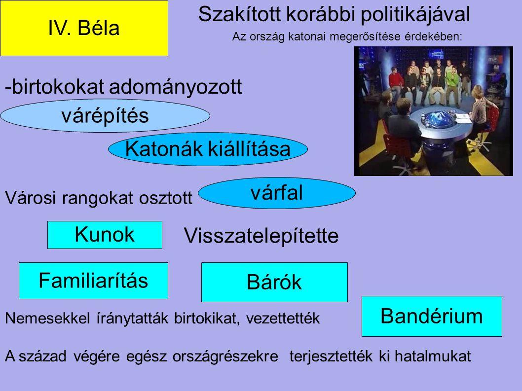 várépítés Bárók Familiarítás Bandérium - Szakított korábbi politikájával IV. Béla -birtokokat adományozott Nemesekkel íránytatták birtokikat, vezettet
