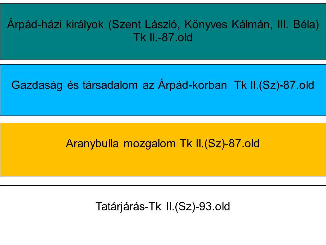 Árpád-házi királyok (Szent László, Könyves Kálmán, III. Béla) Tk II.-87.old Gazdaság és társadalom az Árpád-korban Tk II.(Sz)-87.old Aranybulla mozgal
