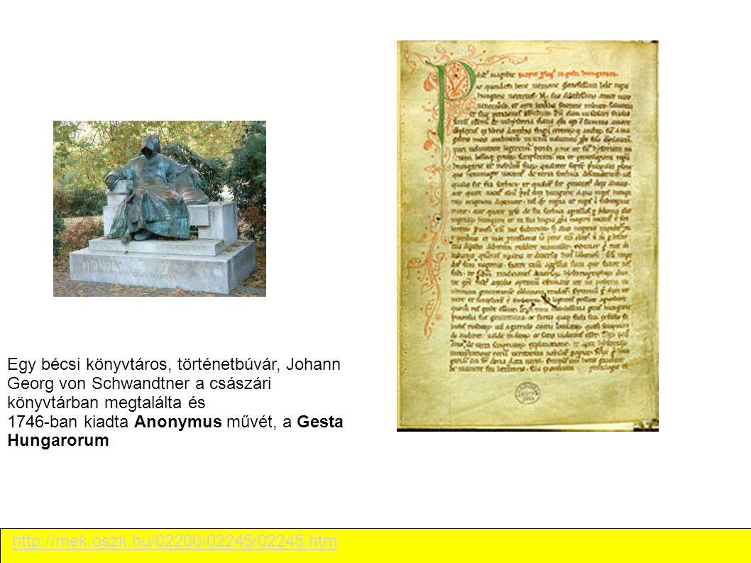 http://mek.oszk.hu/02200/02245/02245.htm Egy bécsi könyvtáros, történetbúvár, Johann Georg von Schwandtner a császári könyvtárban megtalálta és 1746-b
