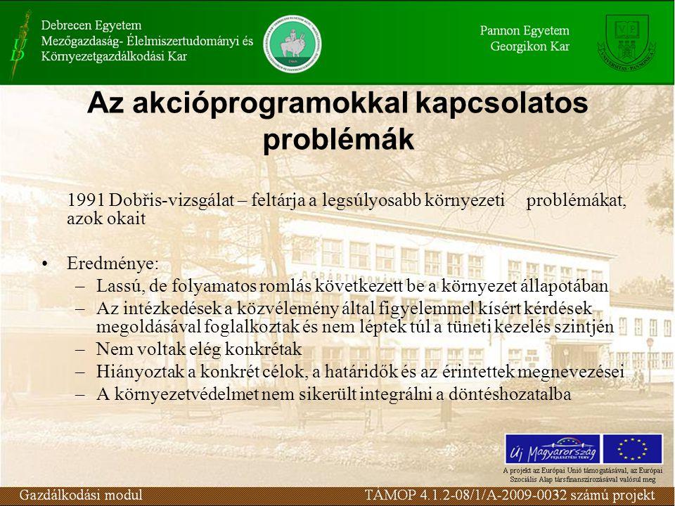 Az akcióprogramokkal kapcsolatos problémák 1991 Dobřis-vizsgálat – feltárja a legsúlyosabb környezeti problémákat, azok okait Eredménye: –Lassú, de folyamatos romlás következett be a környezet állapotában –Az intézkedések a közvélemény által figyelemmel kísért kérdések megoldásával foglalkoztak és nem léptek túl a tüneti kezelés szintjén –Nem voltak elég konkrétak –Hiányoztak a konkrét célok, a határidők és az érintettek megnevezései –A környezetvédelmet nem sikerült integrálni a döntéshozatalba