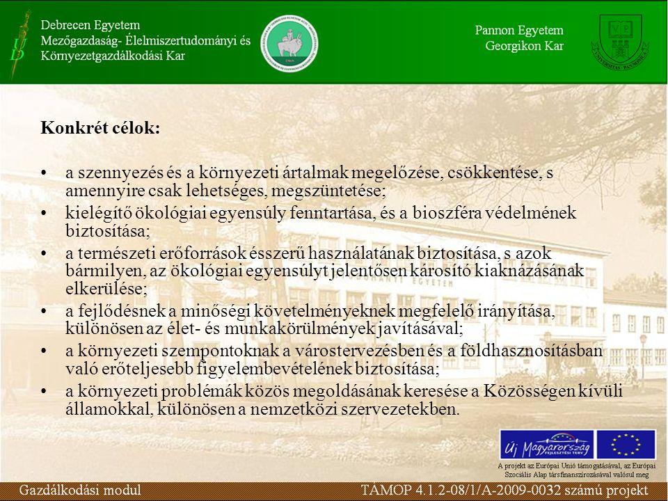 Konkrét célok: a szennyezés és a környezeti ártalmak megelőzése, csökkentése, s amennyire csak lehetséges, megszüntetése; kielégítő ökológiai egyensúly fenntartása, és a bioszféra védelmének biztosítása; a természeti erőforrások ésszerű használatának biztosítása, s azok bármilyen, az ökológiai egyensúlyt jelentősen károsító kiaknázásának elkerülése; a fejlődésnek a minőségi követelményeknek megfelelő irányítása, különösen az élet- és munkakörülmények javításával; a környezeti szempontoknak a várostervezésben és a földhasznosításban való erőteljesebb figyelembevételének biztosítása; a környezeti problémák közös megoldásának keresése a Közösségen kívüli államokkal, különösen a nemzetközi szervezetekben.