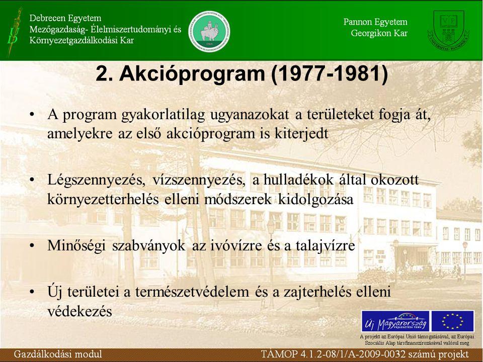 2. Akcióprogram (1977-1981) A program gyakorlatilag ugyanazokat a területeket fogja át, amelyekre az első akcióprogram is kiterjedt Légszennyezés, víz