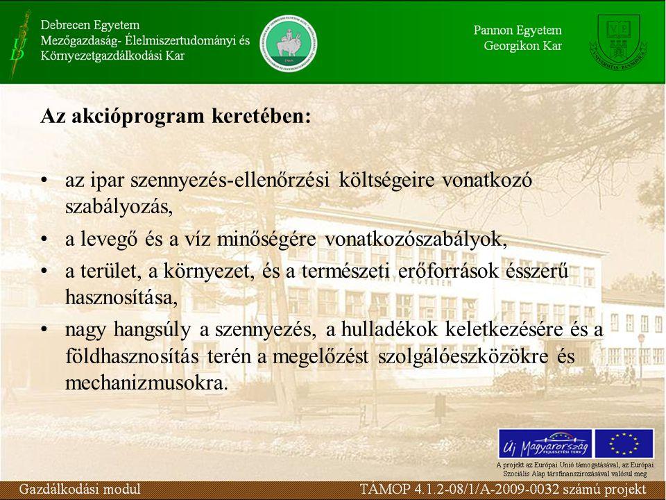 Az akcióprogram keretében: az ipar szennyezés-ellenőrzési költségeire vonatkozó szabályozás, a levegő és a víz minőségére vonatkozószabályok, a terület, a környezet, és a természeti erőforrások ésszerű hasznosítása, nagy hangsúly a szennyezés, a hulladékok keletkezésére és a földhasznosítás terén a megelőzést szolgálóeszközökre és mechanizmusokra.