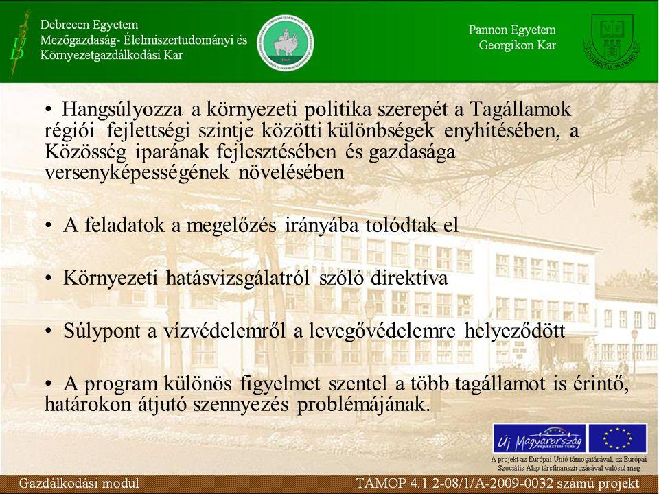 Hangsúlyozza a környezeti politika szerepét a Tagállamok régiói fejlettségi szintje közötti különbségek enyhítésében, a Közösség iparának fejlesztésében és gazdasága versenyképességének növelésében A feladatok a megelőzés irányába tolódtak el Környezeti hatásvizsgálatról szóló direktíva Súlypont a vízvédelemről a levegővédelemre helyeződött A program különös figyelmet szentel a több tagállamot is érintő, határokon átjutó szennyezés problémájának.