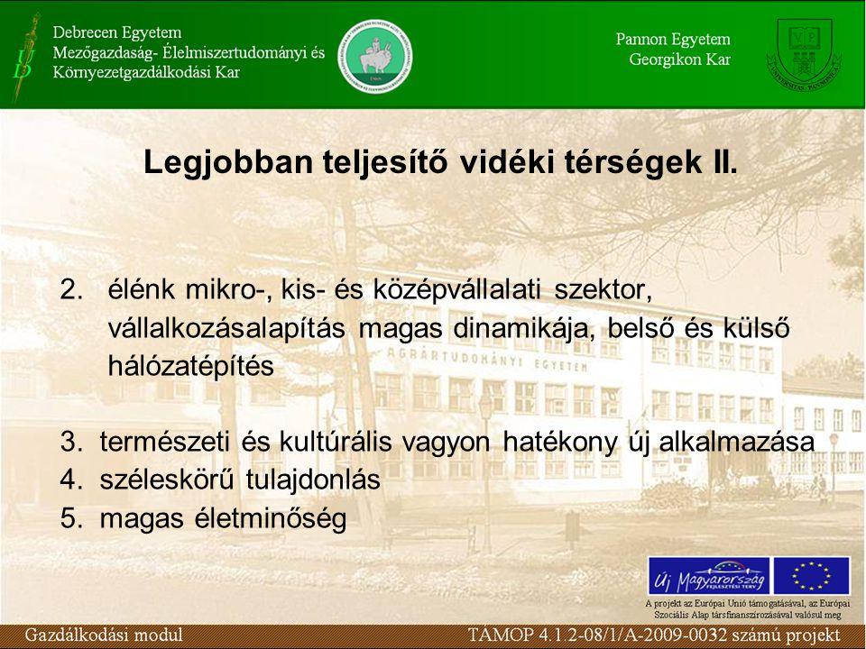 Legjobban teljesítő vidéki térségek II.2.