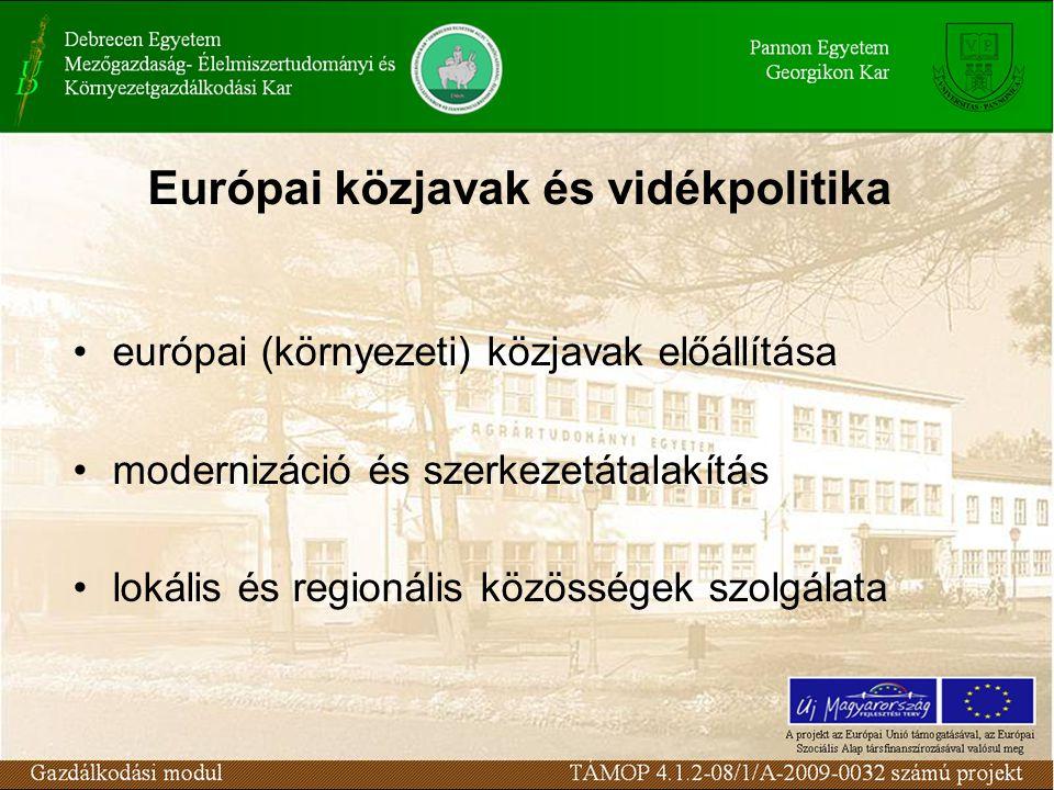 Európai közjavak és vidékpolitika európai (környezeti) közjavak előállítása modernizáció és szerkezetátalakítás lokális és regionális közösségek szolgálata