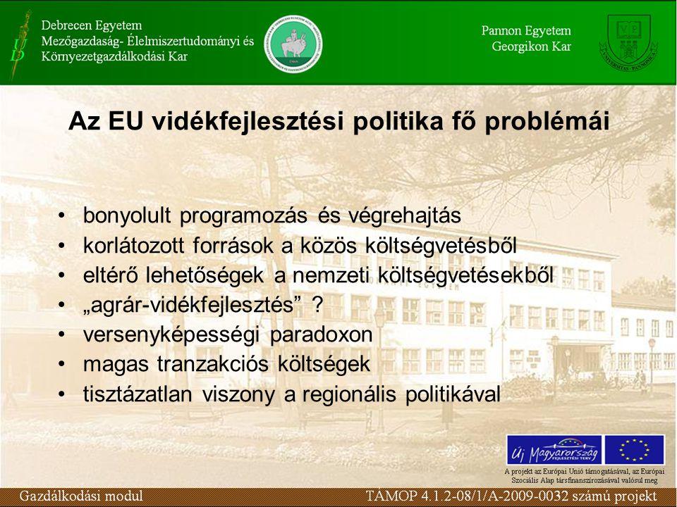 """Az EU vidékfejlesztési politika fő problémái bonyolult programozás és végrehajtás korlátozott források a közös költségvetésből eltérő lehetőségek a nemzeti költségvetésekből """"agrár-vidékfejlesztés ."""