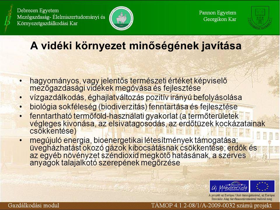 A vidéki környezet minőségének javítása hagyományos, vagy jelentős természeti értéket képviselő mezőgazdasági vidékek megóvása és fejlesztése vízgazdálkodás, éghajlatváltozás pozitív irányú befolyásolása biológia sokféleség (biodiverzitás) fenntartása és fejlesztése fenntartható termőföld-használati gyakorlat (a termőterületek végleges kivonása, az elsivatagosodás, az erdőtüzek kockázatainak csökkentése) megújuló energia, bioenergetikai létesítmények támogatása; üvegházhatást okozó gázok kibocsátásnak csökkentése; erdők és az egyéb növényzet széndioxid megkötő hatásának, a szerves anyagok talajalkotó szerepének megőrzése