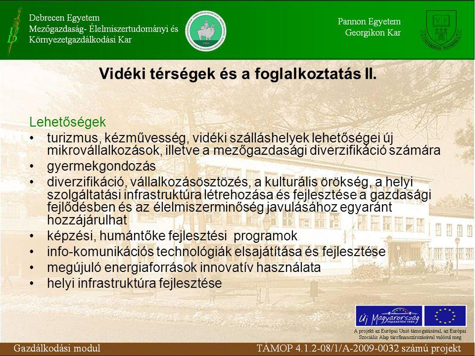 Vidéki térségek és a foglalkoztatás II.