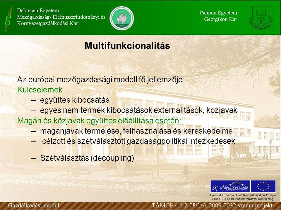 Multifunkcionalitás Az európai mezőgazdasági modell fő jellemzője.