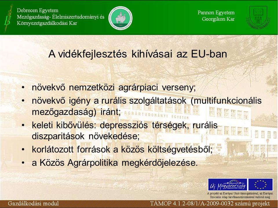 növekvő nemzetközi agrárpiaci verseny; növekvő igény a rurális szolgáltatások (multifunkcionális mezőgazdaság) iránt; keleti kibővülés: depressziós térségek, rurális diszparitások növekedése; korlátozott források a közös költségvetésből; a Közös Agrárpolitika megkérdőjelezése.