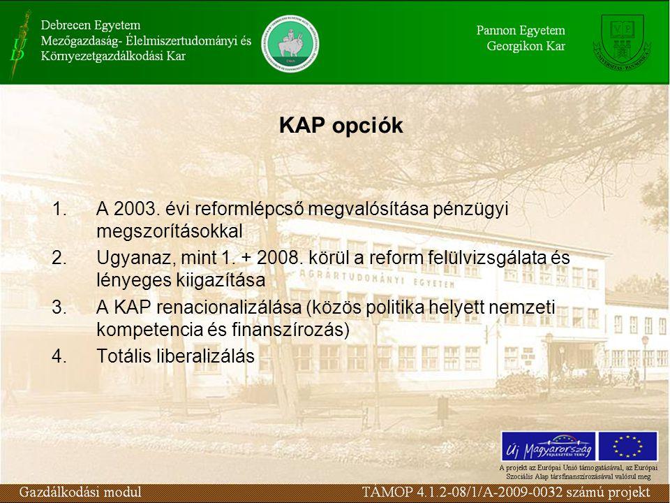 KAP opciók 1.A 2003.évi reformlépcső megvalósítása pénzügyi megszorításokkal 2.Ugyanaz, mint 1.