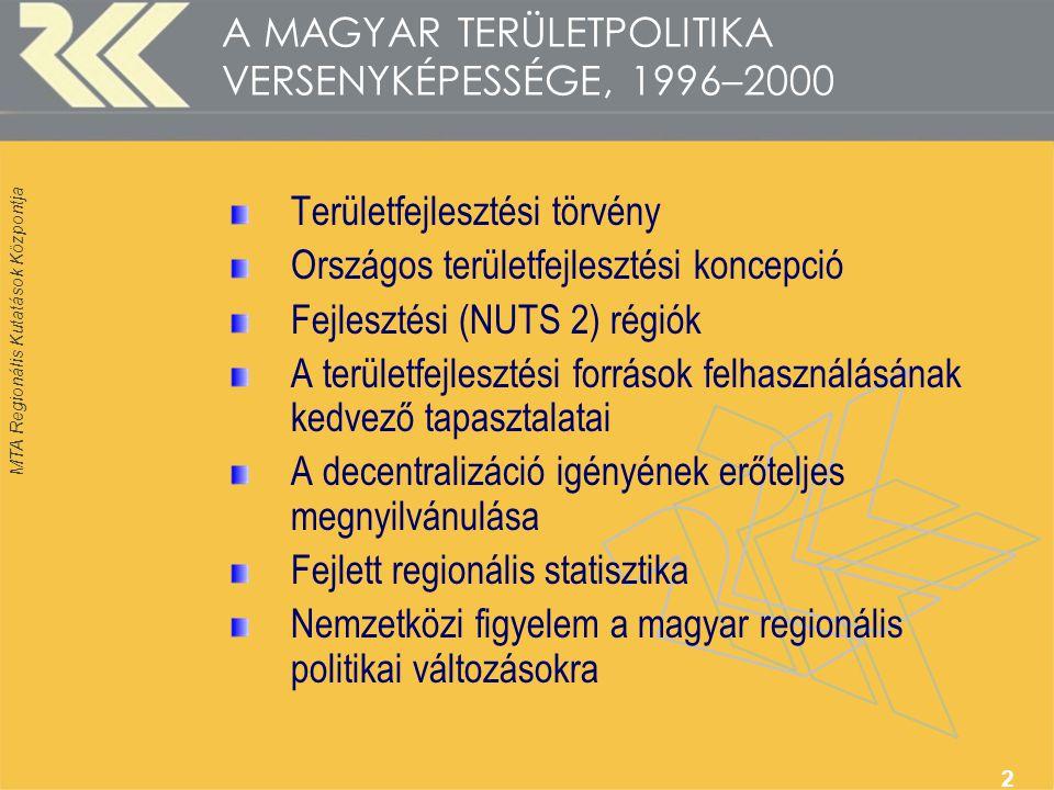 2 A MAGYAR TERÜLETPOLITIKA VERSENYKÉPESSÉGE, 1996–2000 Területfejlesztési törvény Országos területfejlesztési koncepció Fejlesztési (NUTS 2) régiók A