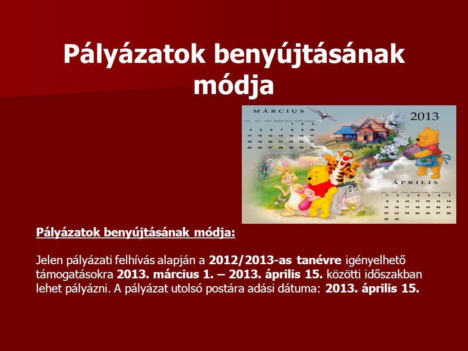 Pályázatok benyújtásának módja Pályázatok benyújtásának módja: Jelen pályázati felhívás alapján a 2012/2013-as tanévre igényelhető támogatásokra 2013.