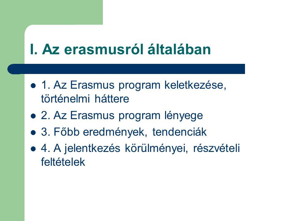 I. Az erasmusról általában 1. Az Erasmus program keletkezése, történelmi háttere 2. Az Erasmus program lényege 3. Főbb eredmények, tendenciák 4. A jel