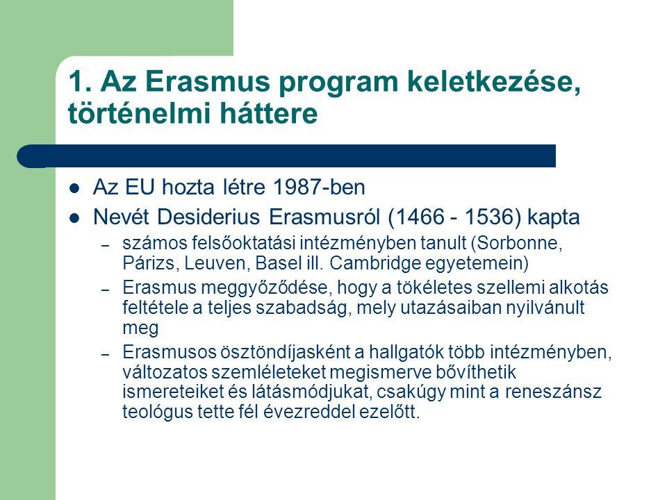 1. Az Erasmus program keletkezése, történelmi háttere Az EU hozta létre 1987-ben Nevét Desiderius Erasmusról (1466 - 1536) kapta – számos felsőoktatás