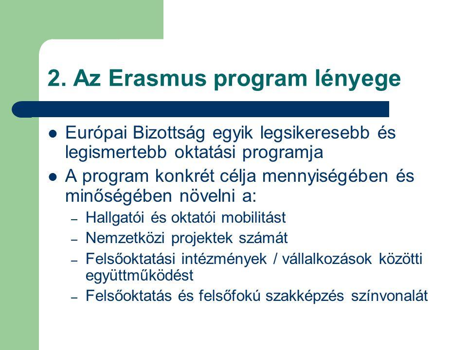 2. Az Erasmus program lényege Európai Bizottság egyik legsikeresebb és legismertebb oktatási programja A program konkrét célja mennyiségében és minősé