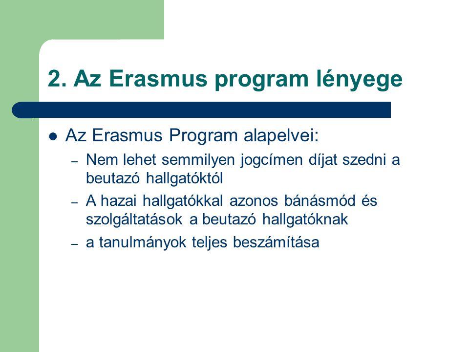 2. Az Erasmus program lényege Az Erasmus Program alapelvei: – Nem lehet semmilyen jogcímen díjat szedni a beutazó hallgatóktól – A hazai hallgatókkal