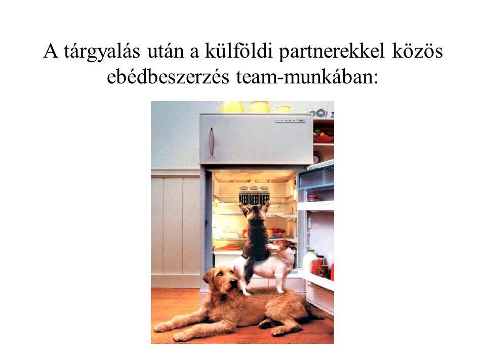 A tárgyalás után a külföldi partnerekkel közös ebédbeszerzés team-munkában: