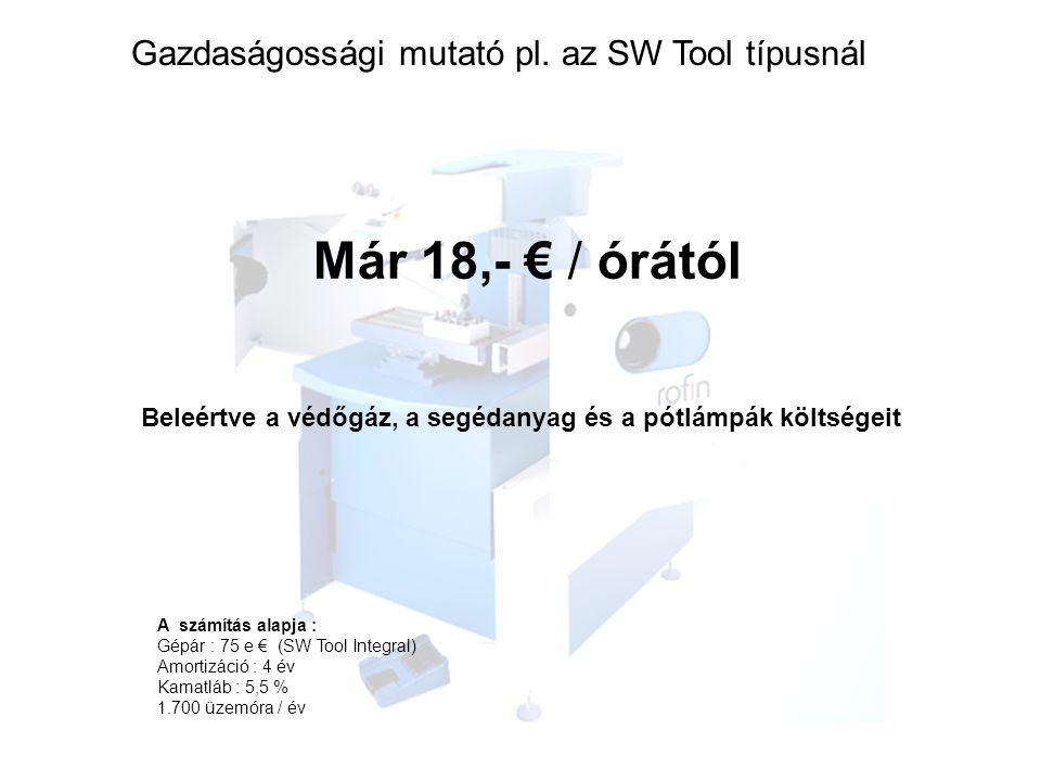 Már 18,- € / órától Beleértve a védőgáz, a segédanyag és a pótlámpák költségeit A számítás alapja : Gépár : 75 e € (SW Tool Integral) Amortizáció : 4