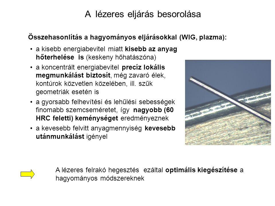 A lézeres eljárás besorolása a kisebb energiabevitel miatt kisebb az anyag hőterhelése is (keskeny hőhatászóna) a koncentrált energiabevitel precíz lo