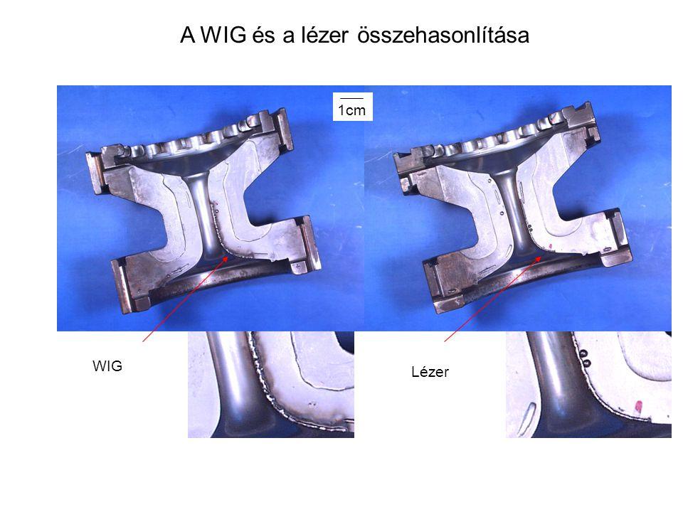 A WIG és a lézer összehasonlítása WIG Lézer 1cm