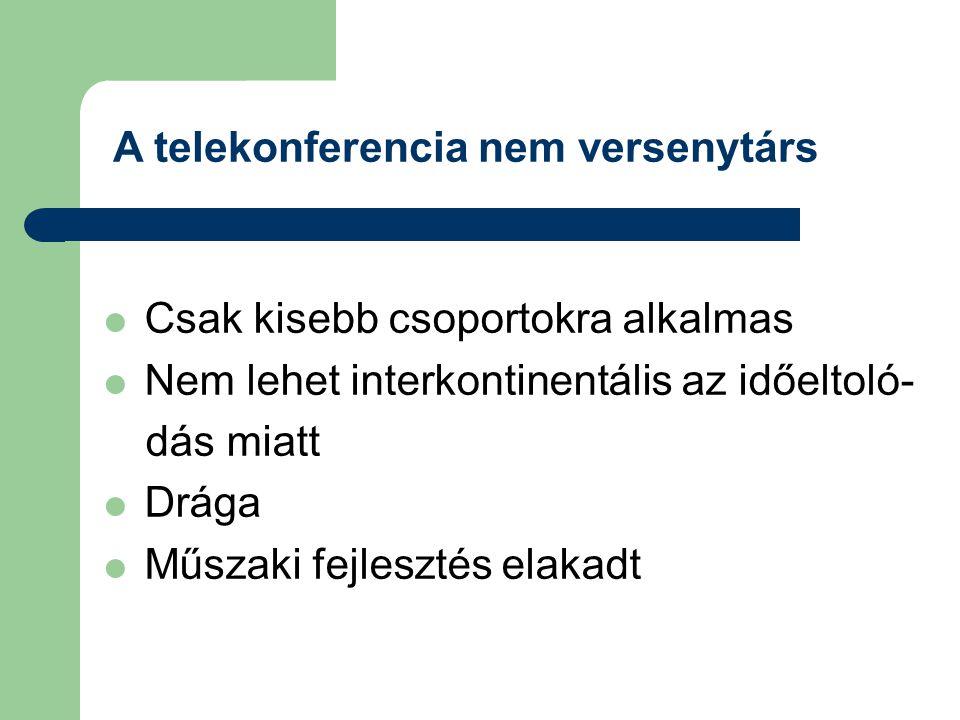 A telekonferencia nem versenytárs  Csak kisebb csoportokra alkalmas  Nem lehet interkontinentális az időeltoló- dás miatt  Drága  Műszaki fejleszt