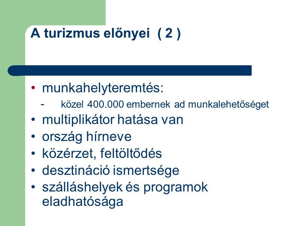 A turizmus előnyei ( 2 ) munkahelyteremtés: - közel 400.000 embernek ad munkalehetőséget multiplikátor hatása van ország hírneve közérzet, feltöltődés