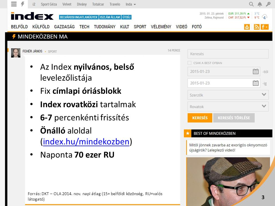 3 Az Index nyilvános, belső levelezőlistája Fix címlapi óriásblokk Index rovatközi tartalmak 6-7 percenkénti frissítés Önálló aloldal (index.hu/mindekozben)index.hu/mindekozben Naponta 70 ezer RU Forrás: DKT – OLA 2014.