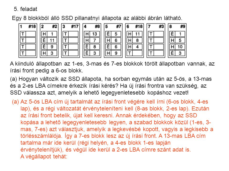 5. feladat Egy 8 blokkból álló SSD pillanatnyi állapota az alábbi ábrán látható. A kiinduló állapotban az 1-es, 3-mas és 7-es blokkok törölt állapotba