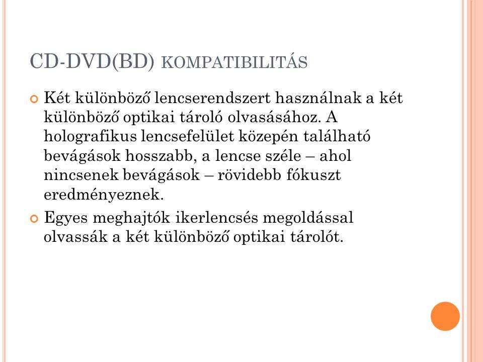 CD-DVD(BD) KOMPATIBILITÁS Két különböző lencserendszert használnak a két különböző optikai tároló olvasásához.