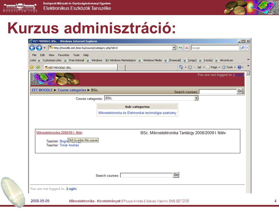 Budapesti Műszaki és Gazdaságtudomanyi Egyetem Elektronikus Eszközök Tanszéke 2008-09-09 Mikroelektronika - Követelmények © Poppe András & Székely Vladimír, BME-EET 2008 4 Kurzus adminisztráció: