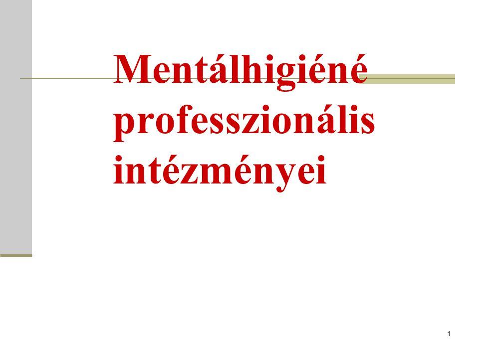 Mentálhigiéné professzionális intézményei 1