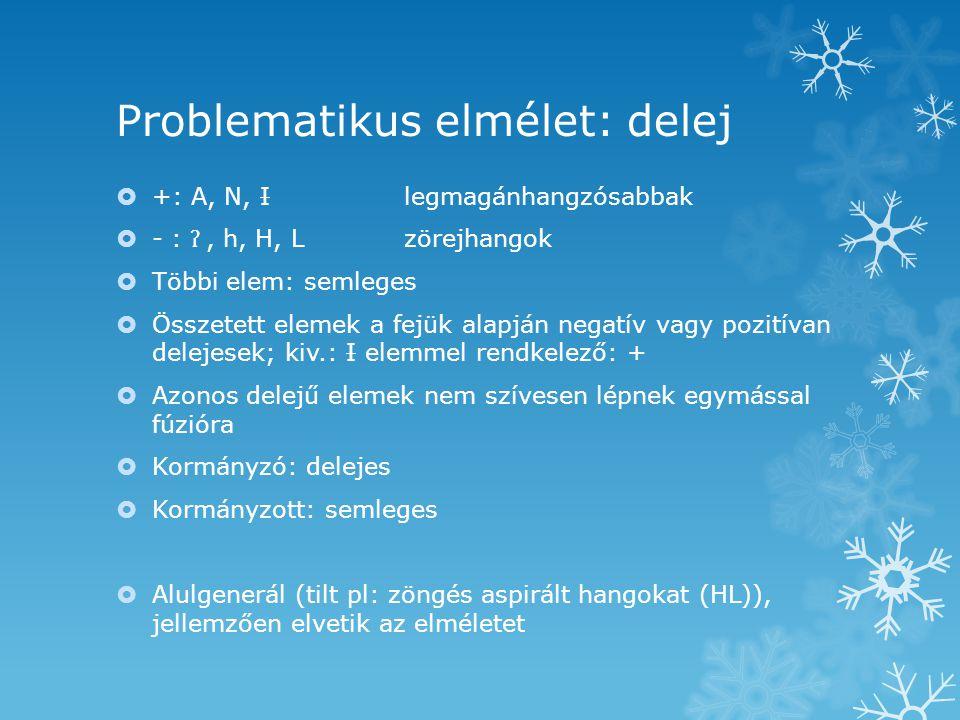 Problematikus elmélet: delej  +: A, N, Ilegmagánhangzósabbak  - : ʔ, h, H, Lzörejhangok  Többi elem: semleges  Összetett elemek a fejük alapján negatív vagy pozitívan delejesek; kiv.: I elemmel rendkelező: +  Azonos delejű elemek nem szívesen lépnek egymással fúzióra  Kormányzó: delejes  Kormányzott: semleges  Alulgenerál (tilt pl: zöngés aspirált hangokat (HL)), jellemzően elvetik az elméletet