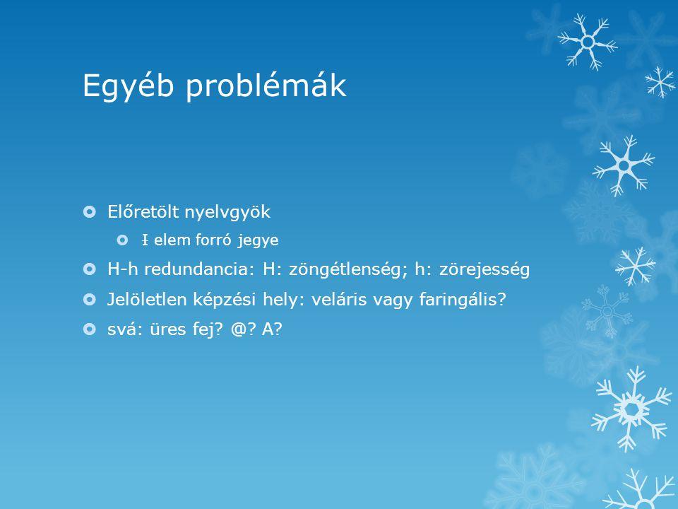 Egyéb problémák  Előretölt nyelvgyök  I elem forró jegye  H-h redundancia: H: zöngétlenség; h: zörejesség  Jelöletlen képzési hely: veláris vagy faringális.