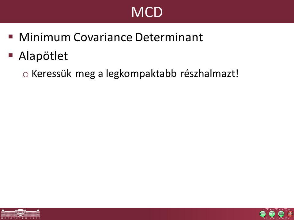MCD  Minimum Covariance Determinant  Alapötlet o Keressük meg a legkompaktabb részhalmazt!