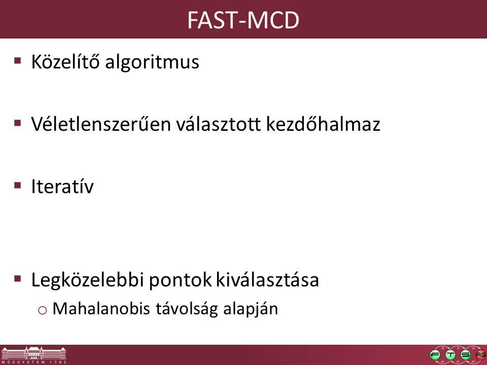 FAST-MCD  Közelítő algoritmus  Véletlenszerűen választott kezdőhalmaz  Iteratív  Legközelebbi pontok kiválasztása o Mahalanobis távolság alapján