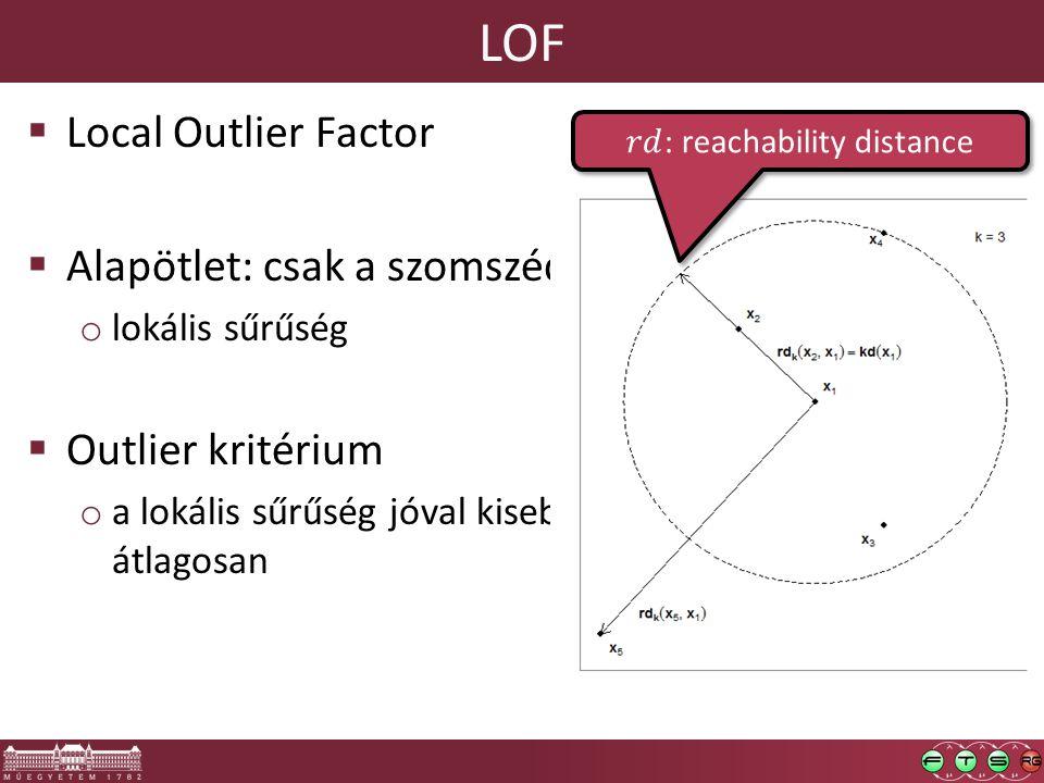 LOF  Local Outlier Factor  Alapötlet: csak a szomszédaival hasonlítsuk össze o lokális sűrűség  Outlier kritérium o a lokális sűrűség jóval kisebb,