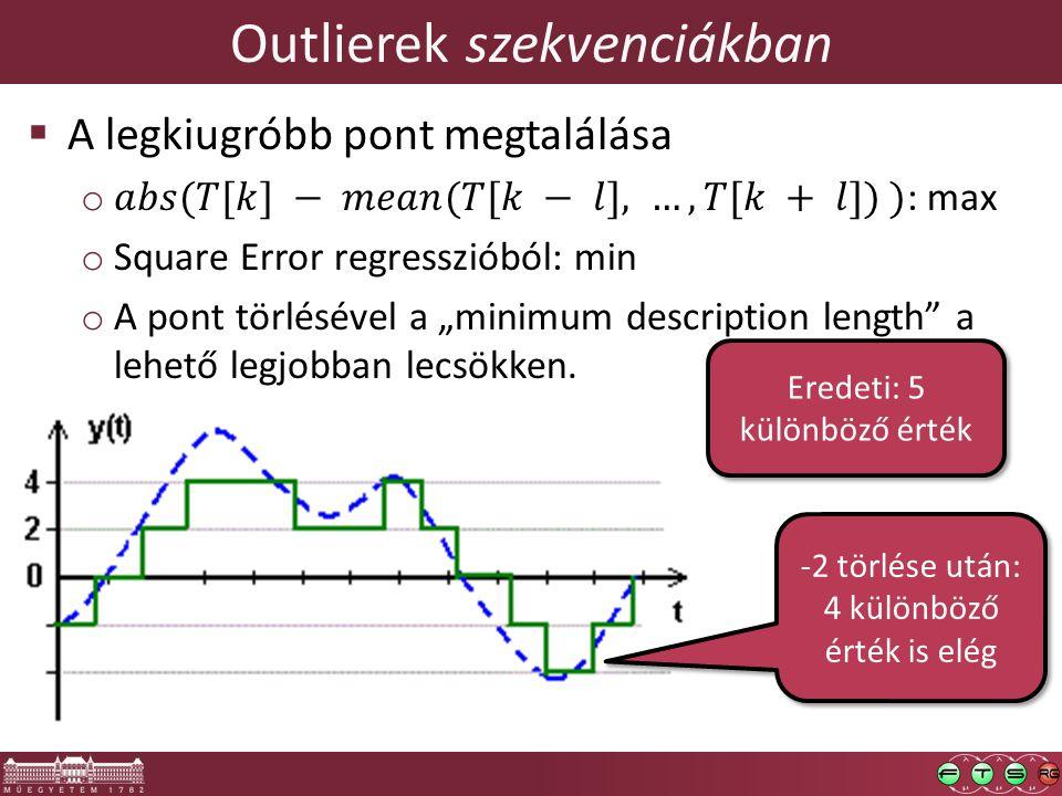 Outlierek szekvenciákban Eredeti: 5 különböző érték -2 törlése után: 4 különböző érték is elég