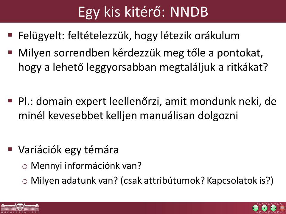 Egy kis kitérő: NNDB  Felügyelt: feltételezzük, hogy létezik orákulum  Milyen sorrendben kérdezzük meg tőle a pontokat, hogy a lehető leggyorsabban megtaláljuk a ritkákat.
