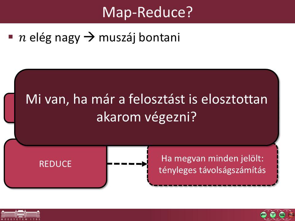 Map-Reduce? REDUCE MAP Csomópont milyen más csp- ok kNN-jeit frissítheti? Ha megvan minden jelölt: tényleges távolságszámítás Mi van, ha már a feloszt