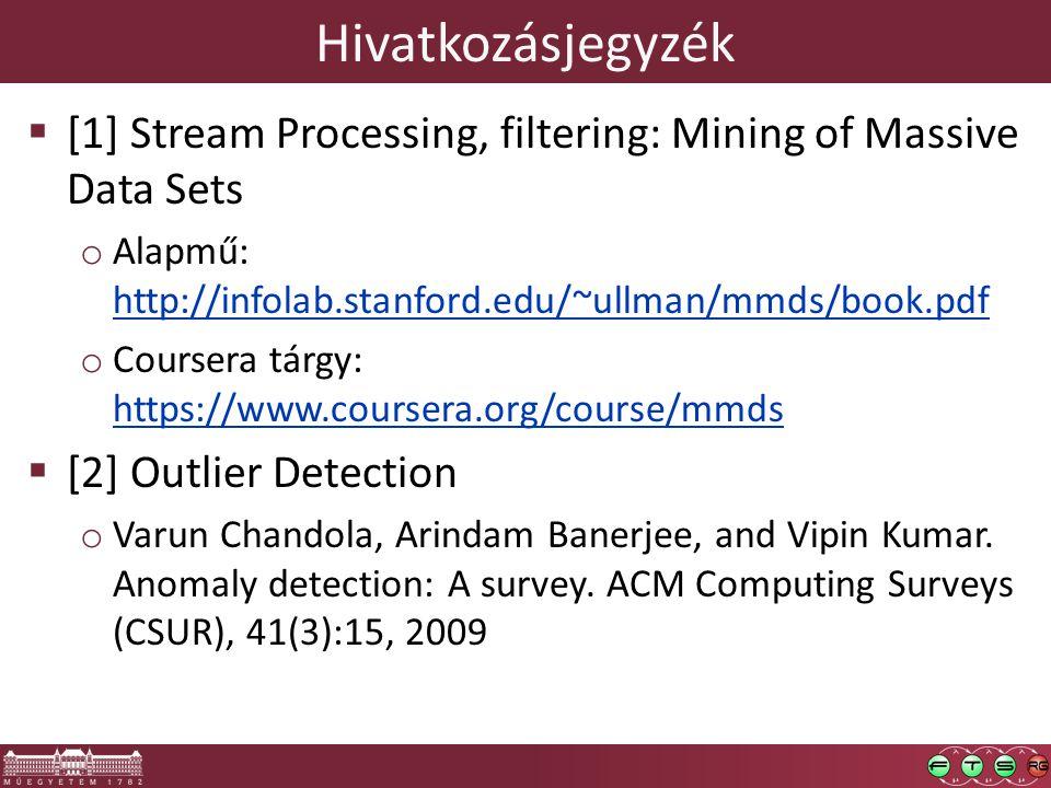 Hivatkozásjegyzék  [1] Stream Processing, filtering: Mining of Massive Data Sets o Alapmű: http://infolab.stanford.edu/~ullman/mmds/book.pdf http://infolab.stanford.edu/~ullman/mmds/book.pdf o Coursera tárgy: https://www.coursera.org/course/mmds https://www.coursera.org/course/mmds  [2] Outlier Detection o Varun Chandola, Arindam Banerjee, and Vipin Kumar.