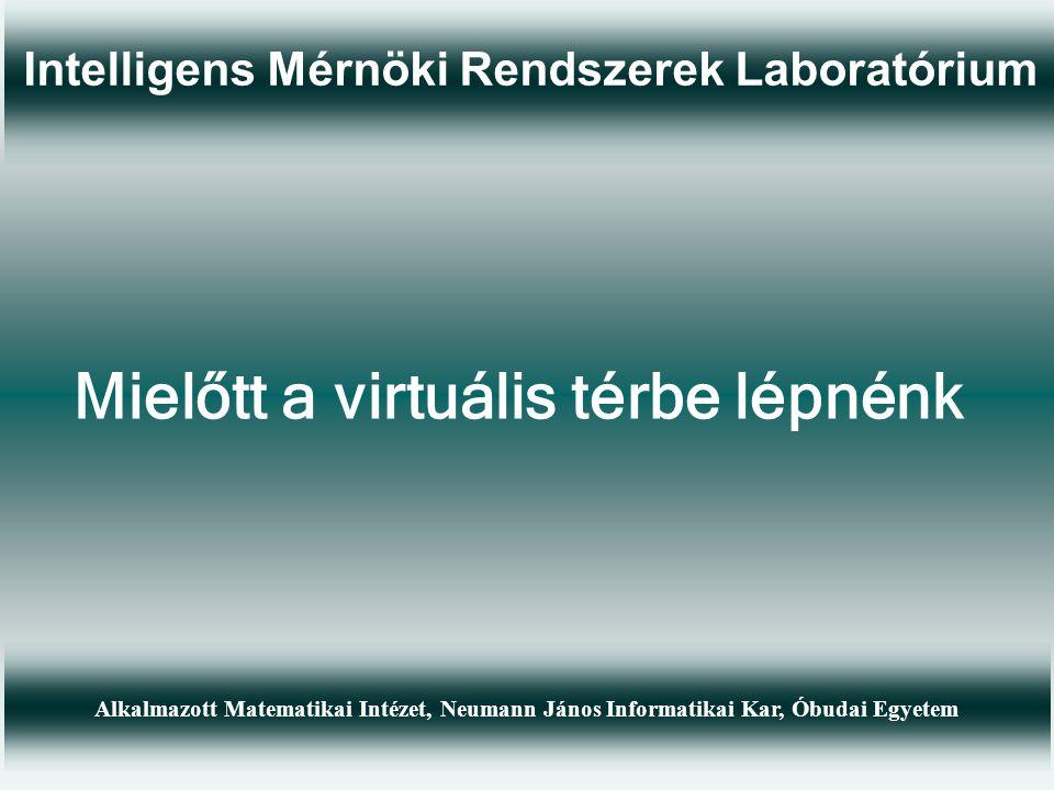 Intelligens Mérnöki Rendszerek Laboratórium Alkalmazott Matematikai Intézet, Neumann János Informatikai Kar, Óbudai Egyetem Mielőtt a virtuális térbe lépnénk