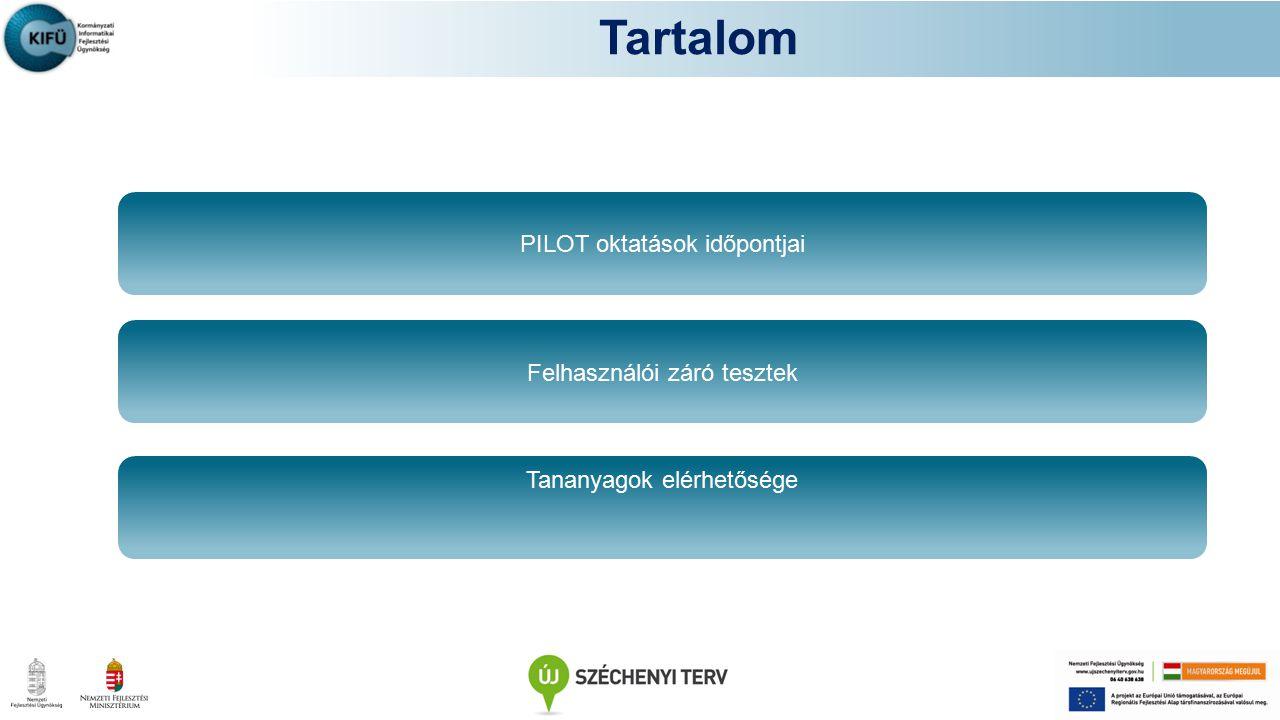 Tartalom PILOT oktatások időpontjai Tananyagok elérhetősége Felhasználói záró tesztek