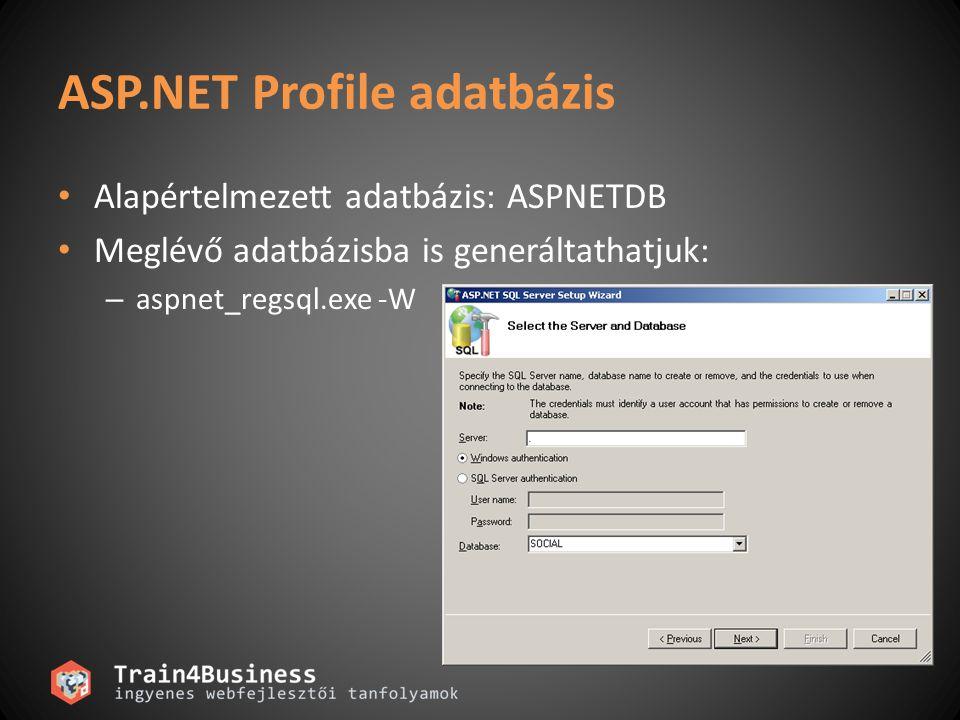 ASP.NET személyre szabás Profil konfigurálása …