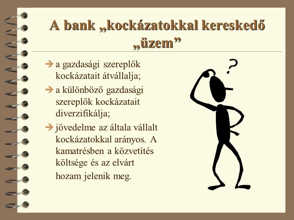 A banküzem fogalma és funkciói 4 Speciális pénzügyi közvetítő: è betétet gyűjt; è hitelez; è pénzforgalmi számlát vezet.