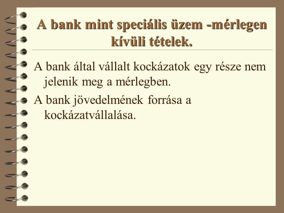 A bank mint speciális üzem -a bankmérleg Eszközök: l pénzeszközök, l más likvid eszközök, l kihelyezések, l befektetések, l banküzemi célú eszközök.