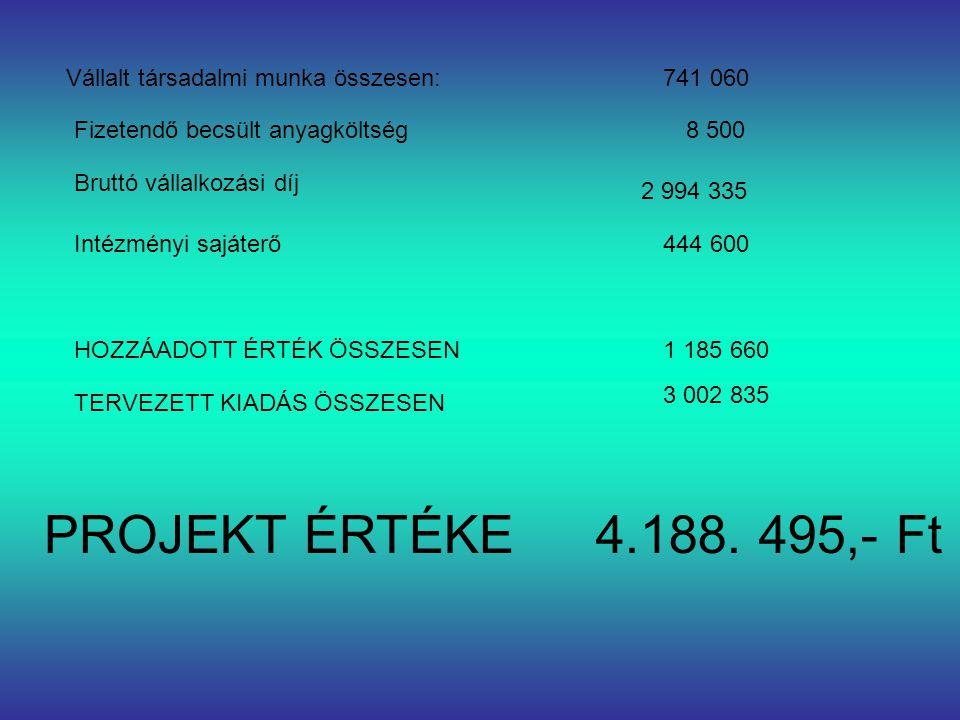 Vállalt társadalmi munka összesen: Fizetendő becsült anyagköltség Bruttó vállalkozási díj Intézményi sajáterő 741 060 8 500 2 994 335 444 600 HOZZÁADOTT ÉRTÉK ÖSSZESEN1 185 660 TERVEZETT KIADÁS ÖSSZESEN 3 002 835 PROJEKT ÉRTÉKE4.188.
