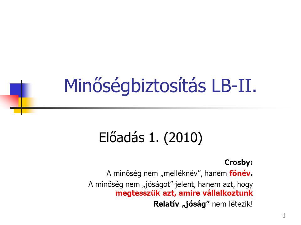 """1 Minőségbiztosítás LB-II. Előadás 1. (2010) Crosby: A minőség nem """"melléknév"""", hanem főnév. A minőség nem """"jóságot"""" jelent, hanem azt, hogy megtesszü"""