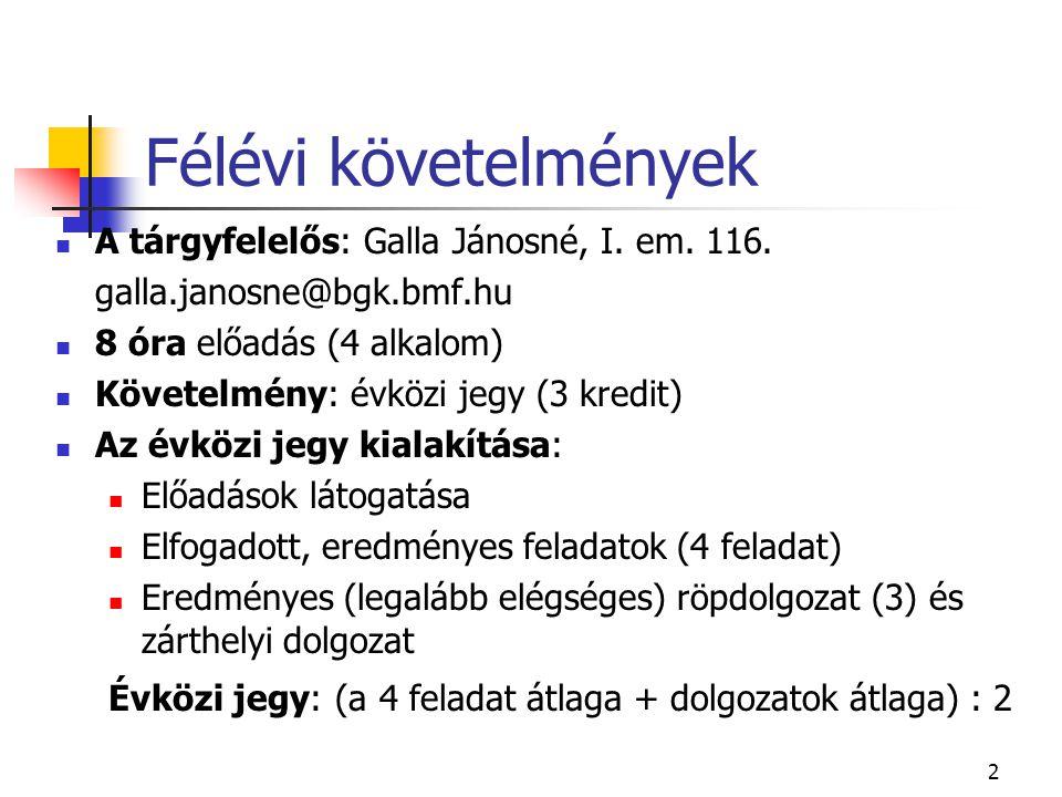 2 Félévi követelmények A tárgyfelelős: Galla Jánosné, I. em. 116. galla.janosne@bgk.bmf.hu 8 óra előadás (4 alkalom) Követelmény: évközi jegy (3 kredi